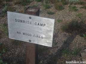 Sunrise camp sign