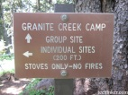 Granite Creek Camp sign